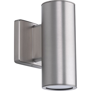 P563001-147-30K: Cylinders Satin Nickel Energy Star Two-Light LED Outdoor Wall Sconce