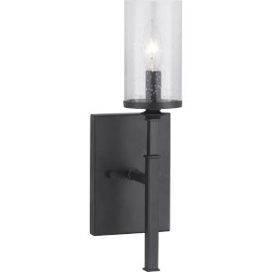 Gresham Graphite One-Light wall sconce With Transparent Seeded Glass