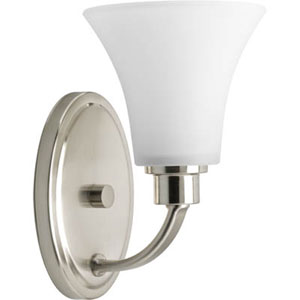 Joy Brushed Nickel One-Light Bath Fixture with Etched Glass Shade