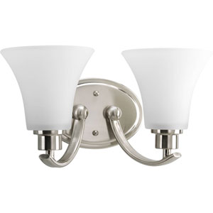 Joy Brushed Nickel Two-Light Bath Fixture with Etched Glass Shade