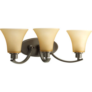 Joy Antique Bronze Three-Light Bath Fixture with Etched Light Umber Glass Shades