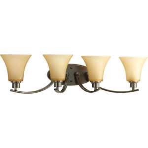 Joy Antique Bronze Four-Light Bath Fixture with Etched Light Umber Glass Shades