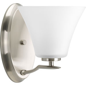 Bravo Brushed Nickel One-Light Bath Fixture with Etched Glass Shade