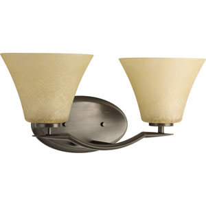 Bravo Antique Bronze Two-Light Bath Fixture with Umber linen Glass Shade