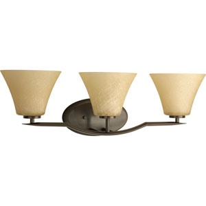 Bravo Antique Bronze Three-Light Bath Fixture with Umber Linen Glass Shades