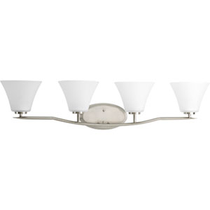 Bravo Brushed Nickel Four-Light Bath Fixture with Etched Glass Shade