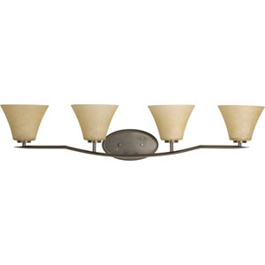 Bravo Antique Bronze Four-Light Bath Fixture with Umber Linen Glass Shades