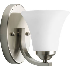 Adorn Brushed Nickel One-Light Bath Fixture with Etched Glass Shade