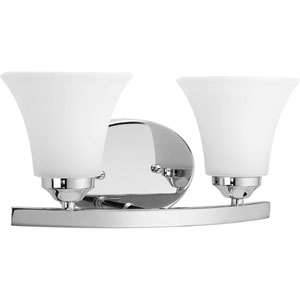 Adorn Polished Chrome Two-Light Bath Fixture with Etched Glass Fluted Shade