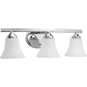 Adorn Polished Chrome Three-Light Bath Fixture with Etched Glass Fluted Shade