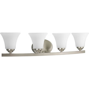 Adorn Brushed Nickel Four-Light Bath Fixture with Etched Glass Shade