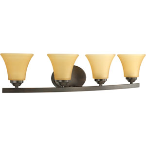 Adorn Antique Bronze Four-Light Bath Fixture with Etched Light Umber Glass Shades