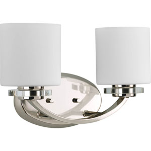 Nissé Polished Nickel Two-Light Bath Fixture with Opal Etched Glass
