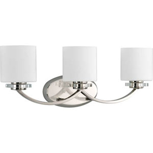 Nissé Polished Nickel Three-Light Bath Fixture with Opal Etched Glass