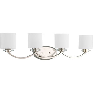 Nissé Polished Nickel Four-Light Bath Fixture with Opal Etched Glass