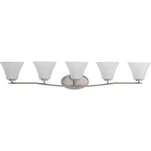 Bravo Brushed Nickel Five-Light Vanity Fixture with Etched Glass