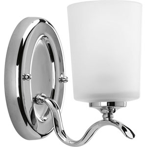 Inspire Polished Chrome One-Light Bath Fixture with Etched Glass
