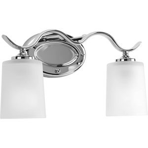 Inspire Polished Chrome Two-Light Bath Fixture with Etched Glass