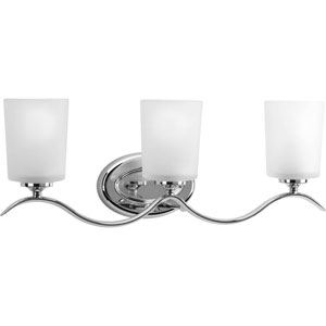 Inspire Polished Chrome Three-Light Bath Fixture with Etched Glass