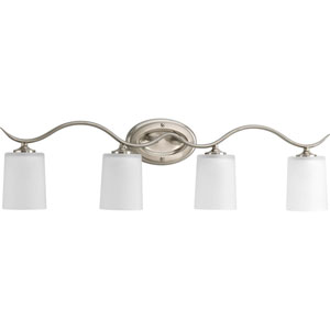 Inspire Brushed Nickel Four-Light Bath Fixture with Etched Glass