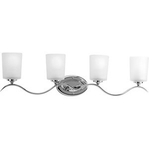 Inspire Polished Chrome Four-Light Bath Fixture with Etched Glass