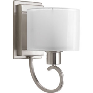 Invite Brushed Nickel One-Light Vanity Fixture with White Glass