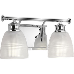 P2116-15 Lucky Polished Chrome 14.5-Inch Two-Light Bath Sconce