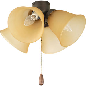 AirPro Antique Bronze Four-Light Light Kit for Ceiling Fan with Etched Light Topaz Glass