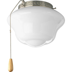 Schoolhouse Brushed Nickel One-Light Light Kit for Ceiling Fan with White Opal Glass