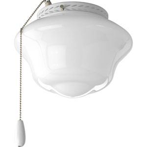 Schoolhouse White One-Light Light Kit for Ceiling Fan with White Opal Glass