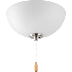 Bravo Brushed Nickel Three-Light Light Kit for Ceiling Fan with Etched Glass Bowl