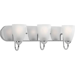 Gather Polished Chrome Three-Light Bath Fixture with Etched Glass Shade
