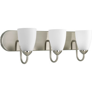 Gather Brushed Nickel Three-Light Fixture Bath Fixture with Etched Glass Shade