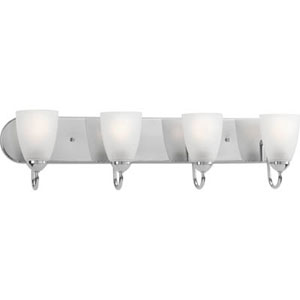 Gather Polished Chrome Four-Light Bath Fixture with Etched Glass Shade