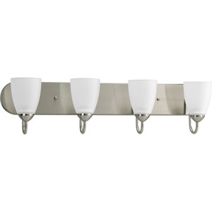 Gather Brushed Nickel Four-Light Fixture Bath Fixture with Etched Glass Shade