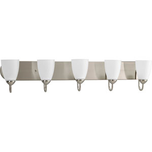 Gather Brushed Nickel Five-Light Bath Fixture with Etched Glass Shade