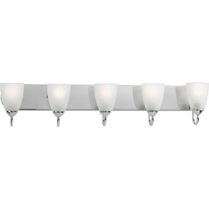 Gather Polished Chrome Five-Light Bath Fixture with Etched Glass Shade