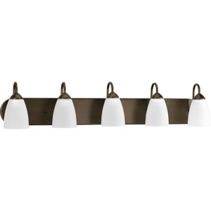 Gather Antique Bronze Five-Light Bath Fixture with Etched Glass Shade