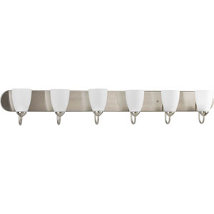 Gather Brushed Nickel Six-Light Bath Fixture with Etched Glass Shade
