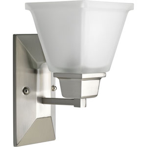 North Park Brushed Nickel One-Light Bath Fixture with Etched Glass