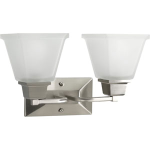 North Park Brushed Nickel Two-Light Bath Fixture with Etched Glass