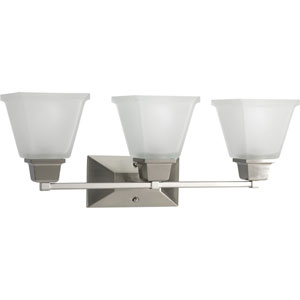 North Park Brushed Nickel Three-Light Bath Fixture with Etched Glass