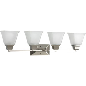 North Park Brushed Nickel Four-Light Bath Fixture with Etched Glass