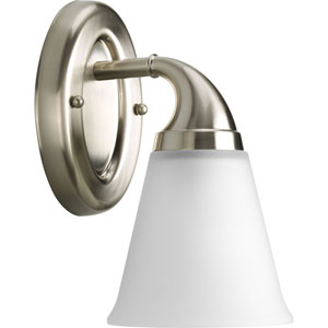 Lahara Brushed Nickel One-Light Bath Fixture with Etched Glass