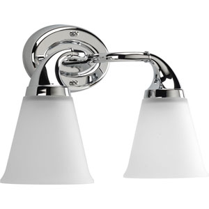 Lahara Polished Chrome Two-Light Bath Fixture with Etched Glass