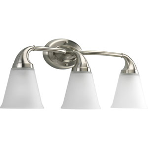 Lahara Brushed Nickel Three-Light Bath Fixture with Etched Glass