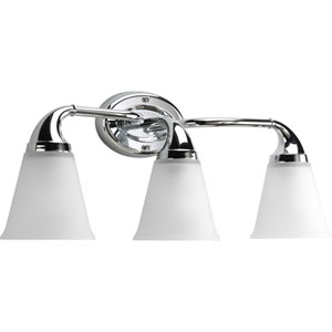 Lahara Polished Chrome Three-Light Bath Fixture with Etched Glass