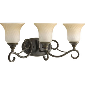 Kensington Forged Bronze Three-Light Bath Fixture with Frosted Caramel Swirl Glass Trumpet Shaped Shades