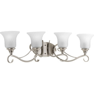 Kensington Brushed Nickel Four-Light Bath Fixture with Swirled Etched Glass Trumpet Shaped Shades