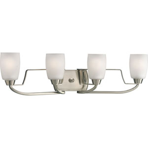 Wisten Brushed Nickel Four-Light Bath Fixture with Etched Glass